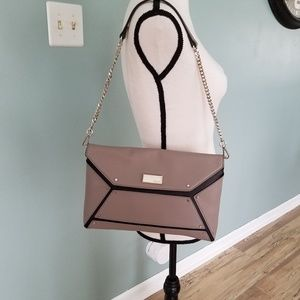 Nine West Grey and Black Purse with Silver Chain